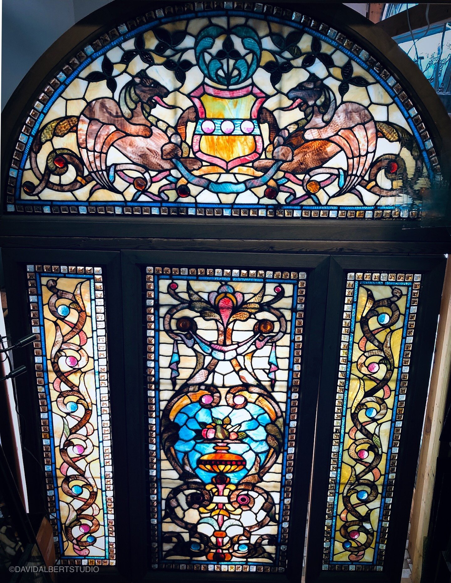 1890's Stained Glass Gryphon