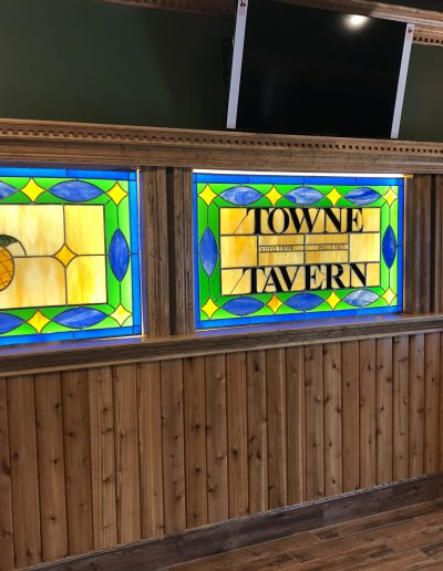 Three stained glass panels for Towne Tavern in Riverside, NJ