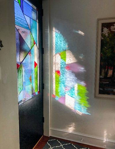 Abstract stained glass custom design for a front door